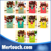 cute little bush girl silicone bumper case for iphone 4 , for apple iphone 4s silicone bumper case