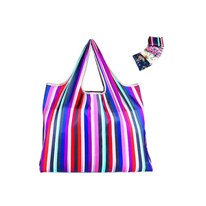 Large Eco-Friendly Reusable Foldable Durable Waterproof Fashionable Colorful Stripes Design Polyester Shopping Bag 4 Pack
