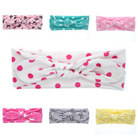 ZOGIFT DIY Children Polka Dot cartoon Cotton Stretch Knit Hair Band Fancy Baby Knot Turban Headband For Girls