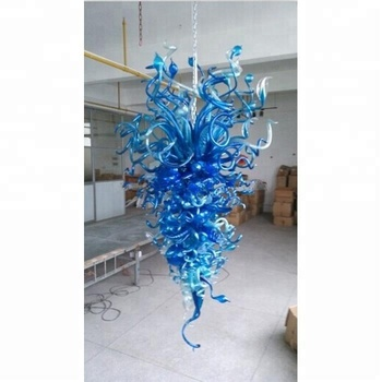 LR1188 Blue Chihuly Style Home Decorative Lamp LED Murano Glass Chandelier Lights