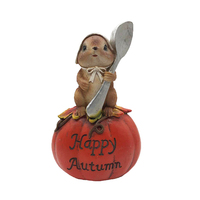 Small Mouse on Pumpkin Resin Fall Harvest Figurines