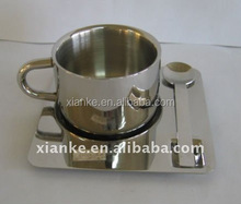 Good quality stainless steel coffee cups saucers with stand