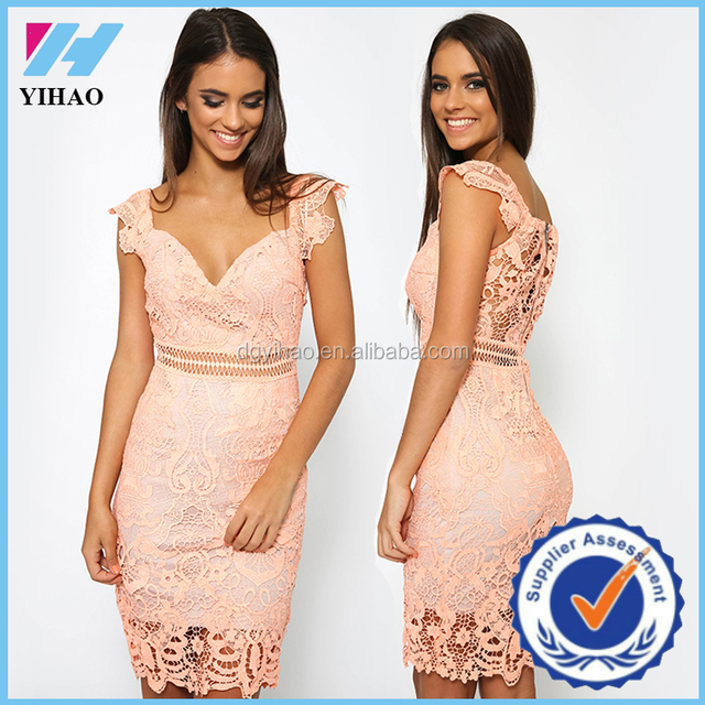 China online shopping lace dress patterns pink lace dress for elegant women