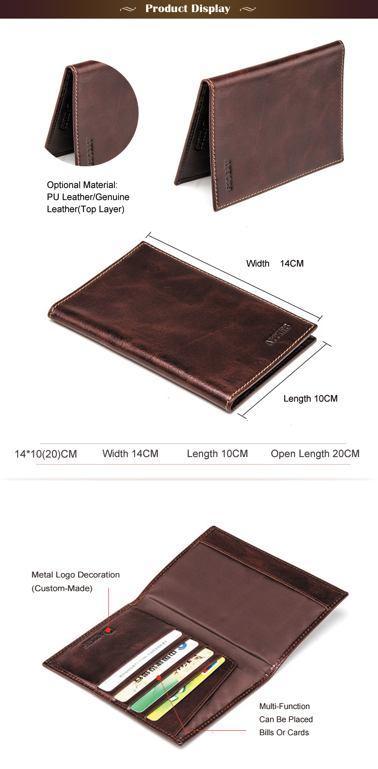 Hot Sales Tailored Service Custom Logo Genuine Leather Men's Fashion Wallet