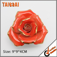 Red Wall hanging porcelain flower craft for bathroom decor