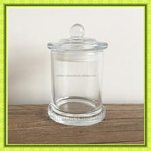 Clear glass candle jar with mushroom glass lid,cylinder shaped glass candle holder,glassware