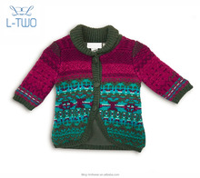 baby sweater coat/ baby girl's jacquard cardigan sweater/ winter angora coat with polar fleece lining