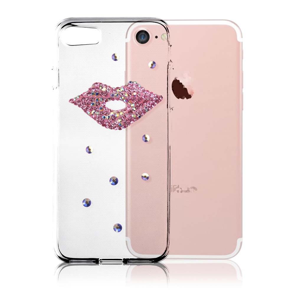 C&T TPU Soft Clear Case Handmade Bling Crystal Rhinestone Diamond Sexy Lips Design Protective for Apple iPhone 7