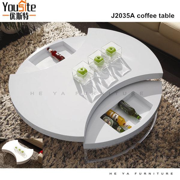 most popular furniture rotating round wooden coffee table