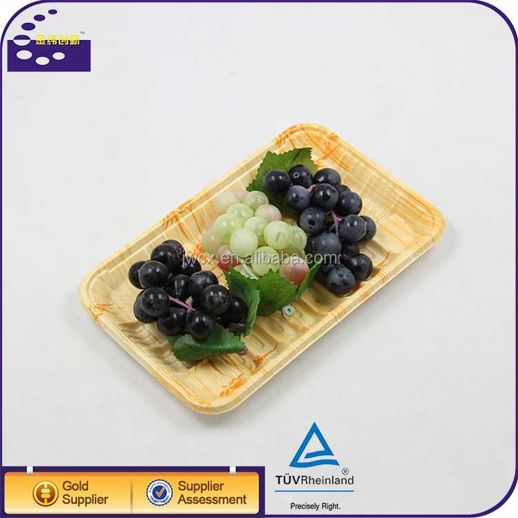 Food Grade Wooden Color PP Tray Packaging For Fruit And Vegetable
