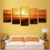 Wall Art 5 Pieces Modern Nature Landscape Gulgee Printing on Canvas For Home Decoration