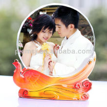 wholesale elegant crystal picture frames with beautiful peacock for home or wedding decoration CM-PA04