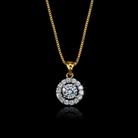 High Quality Jewelry! Women Rose Gold Plated round Single Crystal pendant necklace