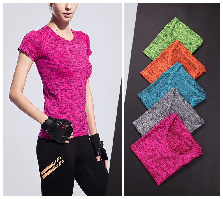 2016 Summer Ladies Wears Suppliers Sport Fitness T-shirts Quick Dry Tops Polyester Spandex T-shirts