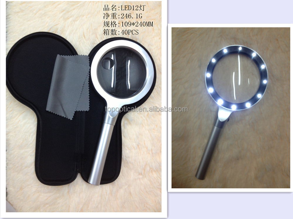 High quality handheld Metal LED magnifier 3x6x with 12pcs LED