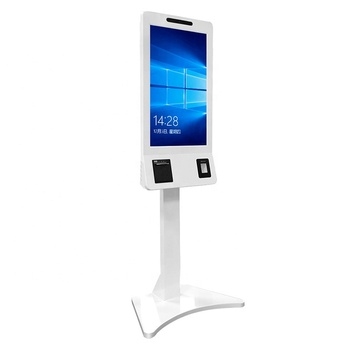 "32"" floor stand wall mounted supermarket restaurant wifi IR touch advertising equipment self-service payment kiosk"