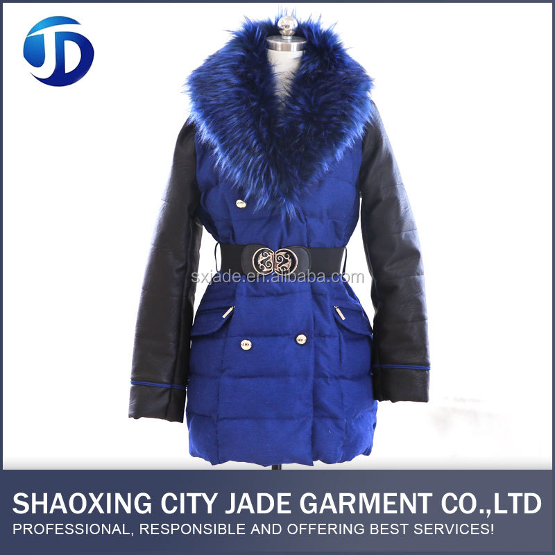 Wholesale High Quality Casual Blue PU Padded Leather Jacket Women