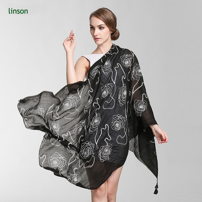 China Suppliers Make Black Background White Rose Pattern Screen Printed Modal Cashmere Scarves Digital Printing Modal Scarves