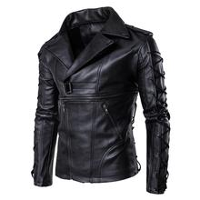 Wholesale autumn short <strong>motorcycle</strong> men black faux pu leather jacket