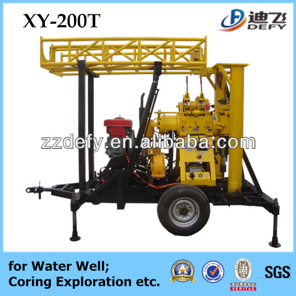 200m depth ! crawler,trailer,tractor wheel type potable core exploration drill for selling