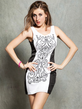 Soft-touch rose pattern mature women sleeveless new model dress 2014