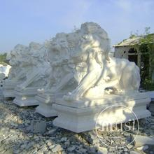 Hand Carved Marble Statue double lions marble stone sculpture