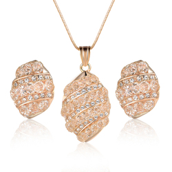 Best Popular Gold Plated Mesh Crystal Jewelry Sets