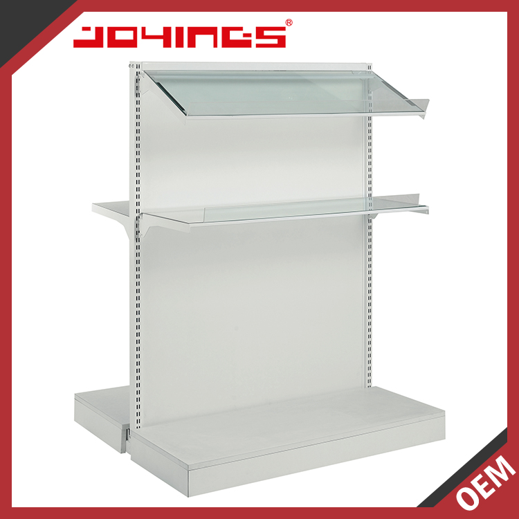 White Floor Standing Powder Coating Mini Mart Shelving System