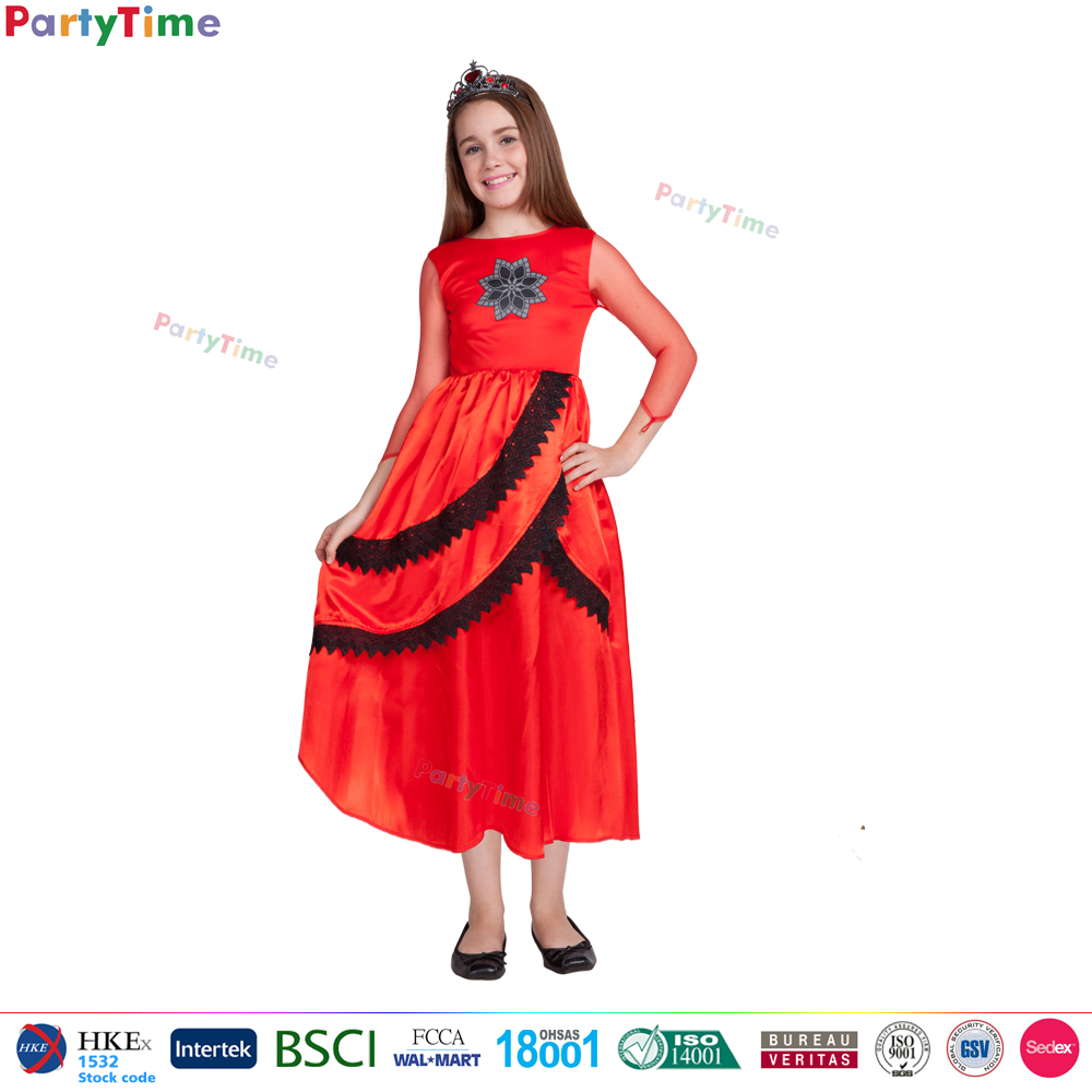 2017 New girls red long dresses kids clothes young girl party dress