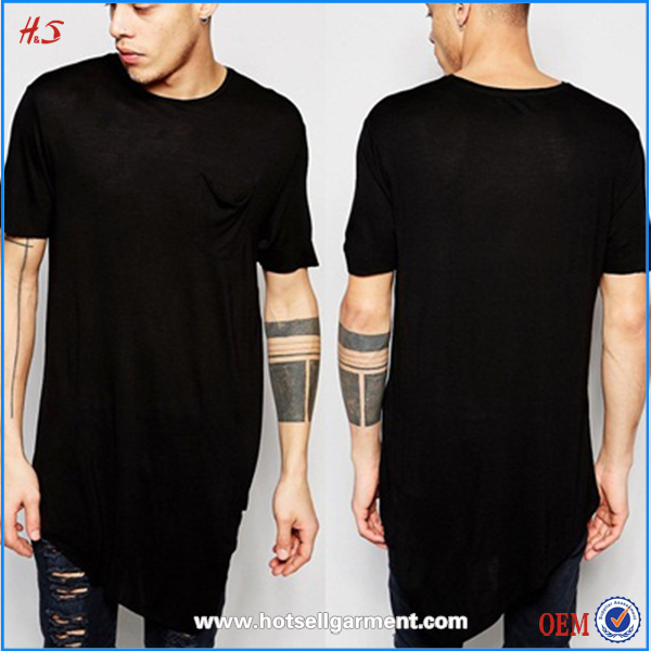 Latest Fashion Men's t shirts Custom Wholesale Blank Cotton Mens Long Line t Shirt Men