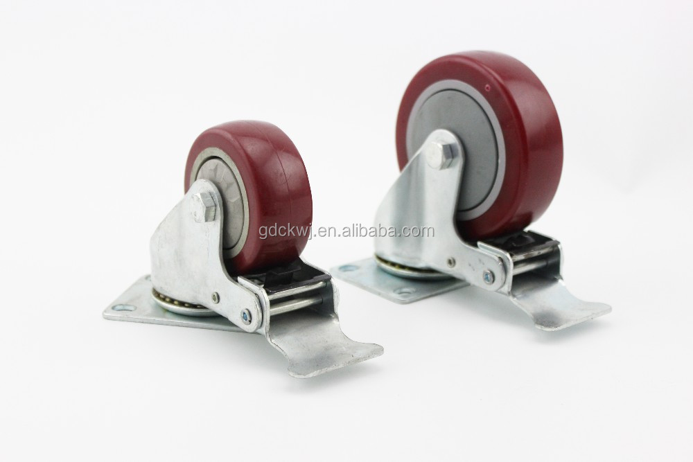 China wholesale double bearing 5 inch polyurethane adjustable office chair locking luggage industrial heavy duty caster wheels
