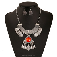 New boho coin ancient silver statement necklace earring set,fashion lady tassel jewerly