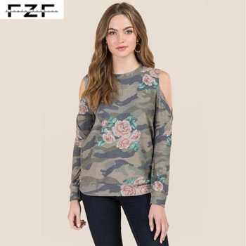 Bulk Cold Shoulder French Terry All over Print Crewneck Camo Sweatshirt Women's