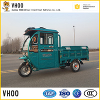 cheap 800w electric tricycle for cargo/semi-closed cargo tricycle/front covered and rear open e trike