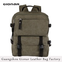 Outdoor High-capacity Canvas Travel Backpack Sling Army Green Bag for Men