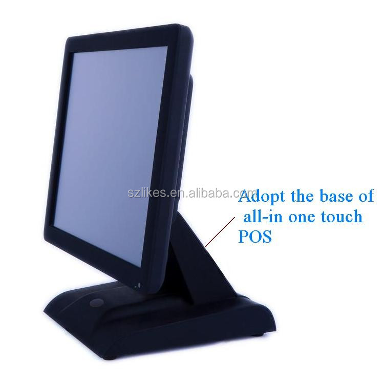 LKS-TM17B 17 inch POS systems 5-wire resistive 1024*768 VGA touch screen monitor with stable POS base