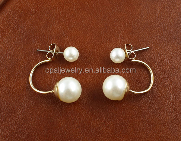Can Acceptted Small Order Elegant Jewelry Rhodium Plated Pearl Earrings