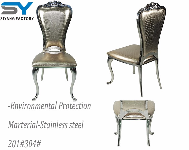 Modern furniture gold oak dining chair new design stainless steel chair for wedding CY024