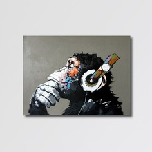Abstract Handmade Canvas Cartoon Animal Monkey Canvas Art Oil Painting for Wall Decor