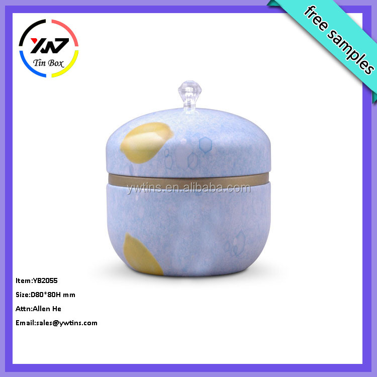 cute gift use round tea tin box/small round metal tin boxes for food and gift/supply round candle tin box,empty candle gift box