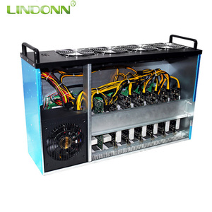 Newest bitcoin 8 gpu crypto miner mining rig machine with intel 3865 cpu motherboard for mining eth zec xmr cryptocurrency