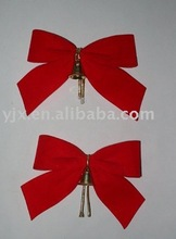 custom size red velvet ribbon bow with metal bell,christmas bowknot