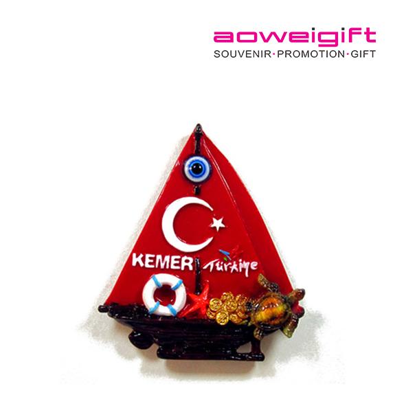 Custom 3D Sailboat Shaped Turkey Kemer Evil Eye Souvenir Polyresin Fridge Magnet