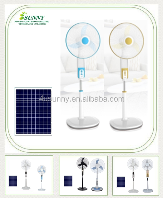 Chinese Manufacturing Solar Standing Fans, 12V DC Air Cooler Fans with Soncap