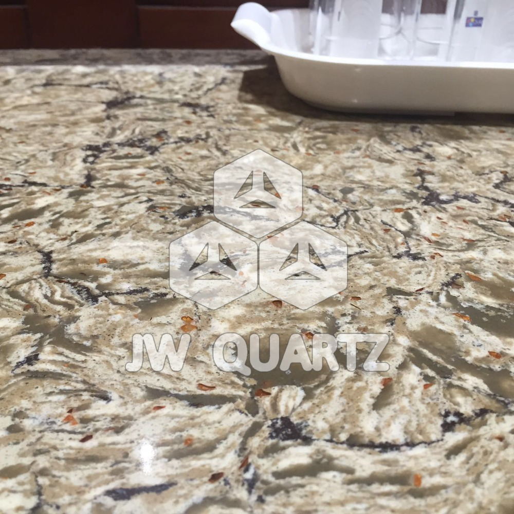 Marble looking Sparkle Artificial Quartz Stone for kitchen countertop
