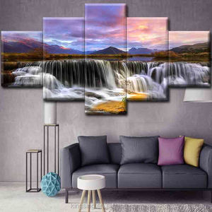 230GSM waterproof five piece landscape oil canvas painting Hot Selling home goods led lighted canvas painting wall art