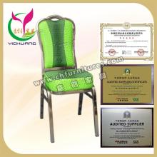 luxury green fabric restaurant furniture stable frame cheap stacking chairs YC-SS-01
