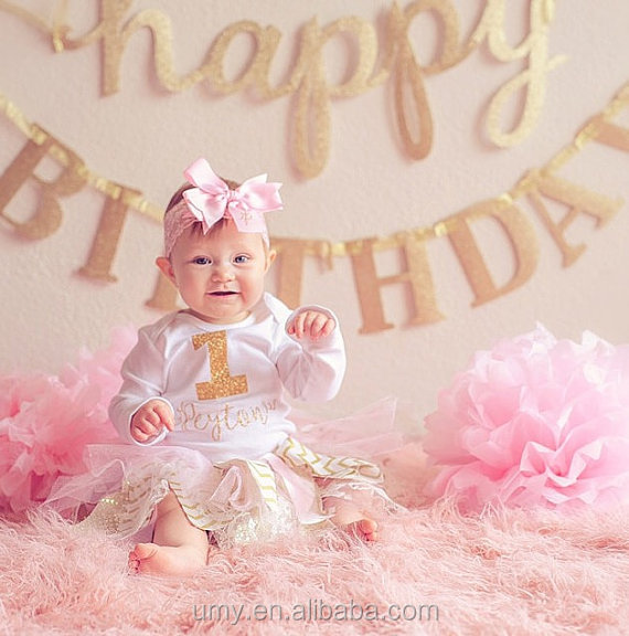 1st Birthday Outfit 1 Year Old Girl Birthday Dress Tutu Bodysuit Bow Set Personalized Gold Pink Birthday Prop