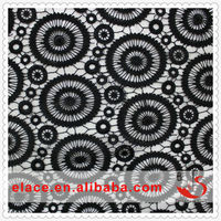Most popular special design pattern black chemical polyester embroidery lace indian suits