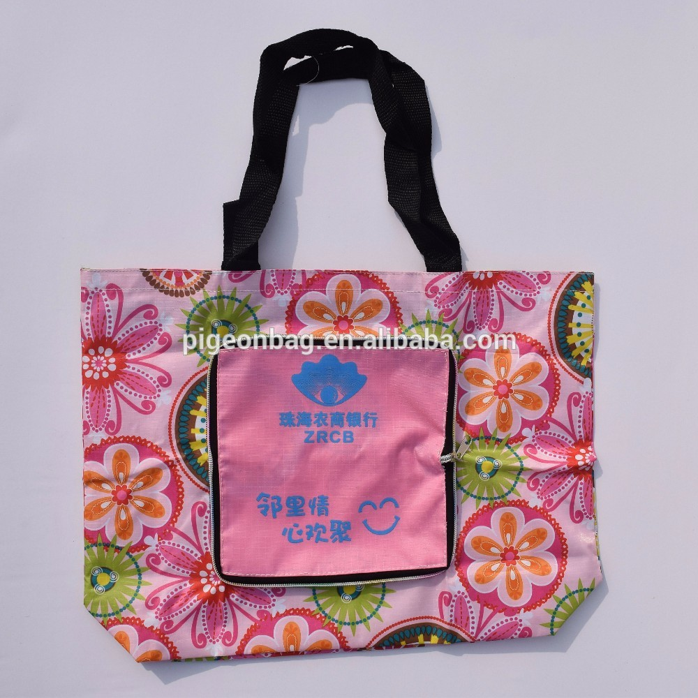 600 denier polyester bag long strap blank sublimation big foldable <strong>tote</strong> bag with snap closure folded durable nylon shopping bag